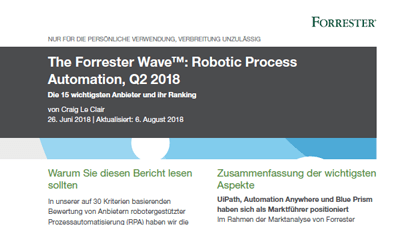 The Forrester Wave™ : Robotic Process Automation, T2 2018